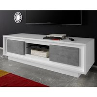 Product photograph showing Borden Wooden 2 Doors Tv Stand In Matt White And Cement Effect