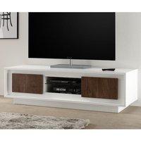 Product photograph showing Borden Wooden 2 Doors Tv Stand In Matt White And Cognac Oak