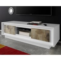 Product photograph showing Borden Wooden 2 Doors Tv Stand In Matt White And Pero Oak