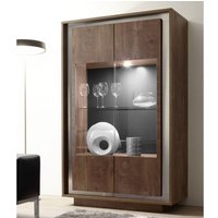 Product photograph showing Borden Led Wooden Display Cabinet In Cognac Oak