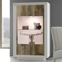 Product photograph showing Borden Led Wooden Display Cabinet In Matt White And Pero Oak