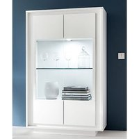 Product photograph showing Borden Led Wooden Display Cabinet In Matt White
