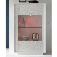 Product photograph showing Borden Led Display Cabinet In White And Flowers Serigraphy