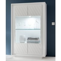 Product photograph showing Borden Led Display Cabinet In White And Striped Serigraphy