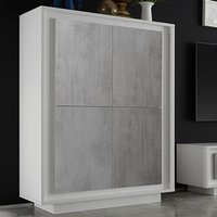 Product photograph showing Borden Wooden Highboard In Matt White And Cement Effect