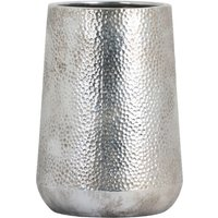 Product photograph showing Borzoi Metallic Ceramic Tapered Decorative Vase In Silver