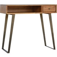 Product photograph showing Boston Wooden Study Desk In Caramel With Iron Legs