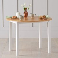 Botain Wooden Drop Leaf Extending Dining Table In Oak And White