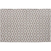 Product photograph showing Botin Small Fabric Upholstred Aztec Rug In Beige And White