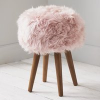 Product photograph showing Bovril Sheepskin Stool In Blush Pink With Solid Oak Legs