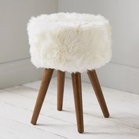 Product photograph showing Bovril Sheepskin Stool In Natural With Solid Oak Legs