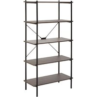 Product photograph showing Bradken 5 Tier Home And Office Shelving Unit In Dark Oak