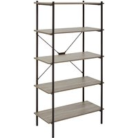 Product photograph showing Bradken 5 Tier Home And Office Shelving Unit In Grey Oak