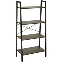 Product photograph showing Bradken 4 Tier Home And Office Shelving Unit In Dark Oak