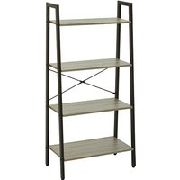 Product photograph showing Bradken 4 Tier Home And Office Shelving Unit In Natural Oak