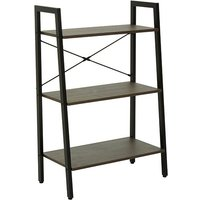 Product photograph showing Bradken 3 Tier Home And Office Shelving Unit In Dark Oak