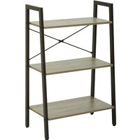 Product photograph showing Bradken 3 Tier Home And Office Shelving Unit In Natural Oak