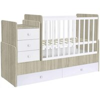 Braize Children Cot Bed In Elm And White With Storage And Mattress