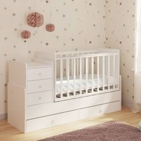 image-Braize Children Cot Bed In White With Storage And Changing Top