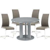 Product photograph showing Brambly Grey Gloss Glass Dining Table And 4 Soho Grey Chairs