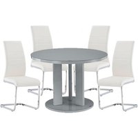 Product photograph showing Brambly Grey Gloss Glass Dining Table And 4 Soho White Chairs