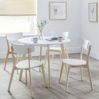 Product photograph showing Bramley Round Wooden Dining Table In White With 4 Chairs