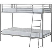 Product photograph showing Brandon Metal Single Bunk Bed In Silver
