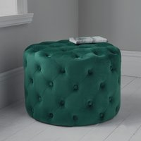 Product photograph showing Brea Round Tufted Velvet Pouffe In Deep Green