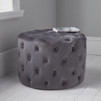 Product photograph showing Brea Round Tufted Velvet Pouffe In Grey