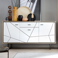 Brecon 3 Door 1 Drawer High Gloss Sideboard In White And Walnut
