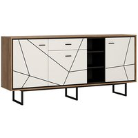 Brecon 3 Door 1 Drawer Wide Gloss Sideboard In White And Walnut