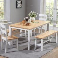 Bremen Oak And White Dining Set With 4 Chairs And 1 Large