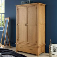 Brendan Double Door Wardrobe In Crafted Solid Oak With 1 Drawer