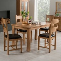 Product photograph showing Brex Extending Natural Dining Table With 4 Chairs