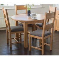 Product photograph showing Brex Extending Round Natural Dining Table With 4 Chairs