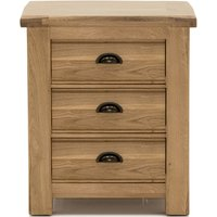 Brex Wooden 3 Drawers Bedside Table In Natural
