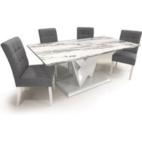 Product photograph showing Brezza Gloss Medium Dining Table With 4 Silver Grey Chairs