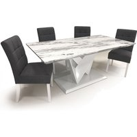 Product photograph showing Brezza Gloss Medium Dining Table With 4 Steel Grey Chairs