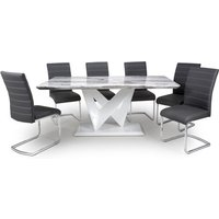 Product photograph showing Brezza Large Gloss Dining Table With 6 Callisto Black Chairs
