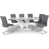 Product photograph showing Brezza Large Gloss Dining Table With 6 Callisto Grey Chairs