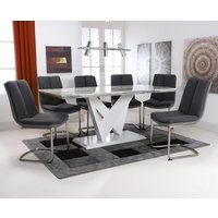 Brezza Large Gloss Dining Table With 6 Triton Dark Grey Chairs
