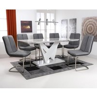 Product photograph showing Brezza Large Gloss Dining Table With 6 Triton Light Grey Chairs