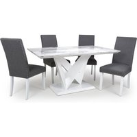 Product photograph showing Brezza Gloss Medium Dining Table 4 Steel Grey Chairs White Legs