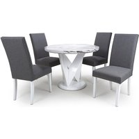 Product photograph showing Brezza Round Marble Effect Dining Table With 4 Steel Grey Chairs