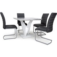 Product photograph showing Brezza Square Marble Effect Dining Table With 4 Black Chairs