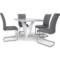 Product photograph showing Brezza Square Marble Effect Dining Table With 4 Grey Chairs