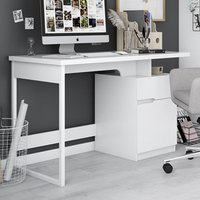 Product photograph showing Bridport Wooden Computer Desk In White High Gloss