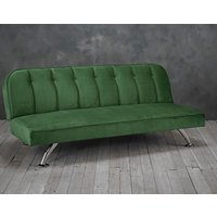 Product photograph showing Brighton Velvet Upholstered Sofa Bed In Green