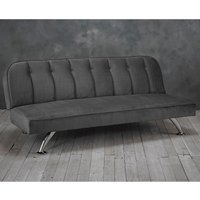Product photograph showing Brighton Velvet Upholstered Sofa Bed In Grey