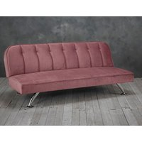 Product photograph showing Brighton Velvet Upholstered Sofa Bed In Pink